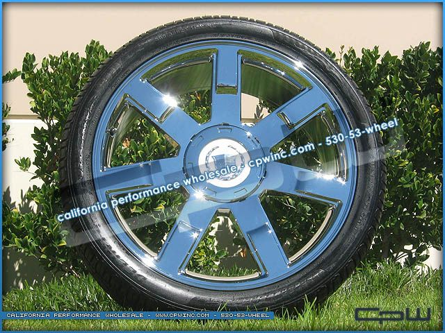 24 INCH CHROME WHEEL AND TIRE PACKAGE RIMS FOR CADILLAC ESCALADE